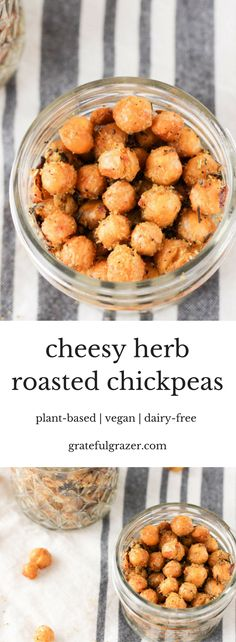 These crunchy, cheesy roasted chickpeas make a delicious plant-based snack that's perfect for lunch boxes and travel. Include in entrees too! vegan.  via @gratefulgrazer