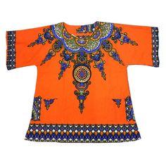 Latest African Dresses,short Sleeve African Print Shirt Unisex Orange LBL90177-2…