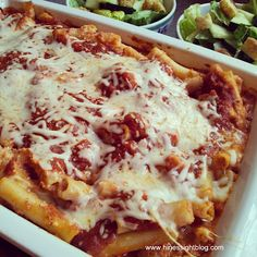 The easiest baked ziti recipe ever! Great for simple, easy, family dinners.  Freezes well.