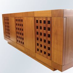This magnificent sideboard features three doors, whose front panels create the striking decoration of carved squares. Dark Walnut, Sideboard, Buffet, Carving, Shelves, Doors, Create, Furniture, Design