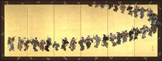 神坂雪佳 元禄舞図 右隻. Kamisaka Sekka. Six fold screen with dancers. Japan. 1866-1942.