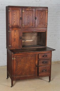 Two Piece Wooden Hoosier Cabinet, circa 1900