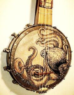 Its a banjo, that has met art. Banjo Ukulele, Mandoline, Cigar Box Guitar, Music Stuff, Musical Instruments, Banjos, Acoustic Guitars, Murder Mysteries, Cozy Mysteries