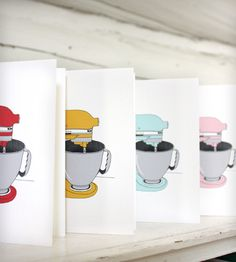 The iconic kitchen aid mixer in a rainbow of colors sits pretty in this set of ten notecards, including two of each color. The blank notecards are printed on bright white linen cardstock, accompanied by 100% recycled kraft paper envelopes and packaged in a recycled kraft paper stationary box for easy storage.
