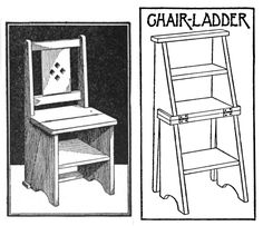 """Very neat Chair-Ladder. I have got to make one of these! From """"Carpentry for Beginners"""" by John Duncan Adams, 1917, page 94 for directions, diagrams. Download the book here: http://books.google.com/books/download/Carpentry_for_Beginners.pdf?id=PgQKAAAAIAAJ"""