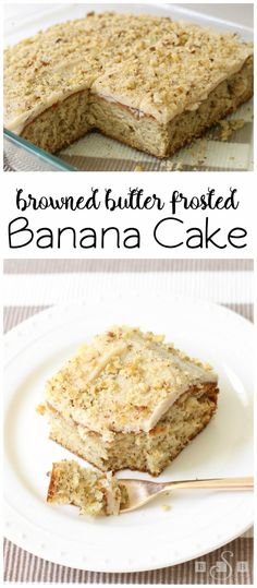Browned Butter Frosted Banana Cake - browning the butter creates a unique, flavorful frosting that tastes like Werthers candies! It's amazing on top this banana cake! Butter With A Side of Bread