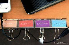 Run your cords through binder clips.