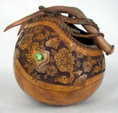 Redcloud Originals - Fine Gourd Art by Judy Richie. These pieces would make a great accent for a #WesternHome