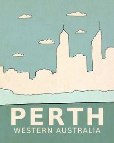Perth // Typographic Print, Nursery Art, Kids Art Poster, Australia, City Skyline, Giclee, Travel Theme, Map, Digital Print