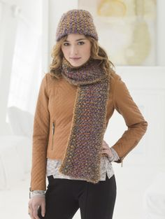 Practice knitting slip stitches with this hat and scarf set made with Homespun® Thick & Quick®. Designed by Mari Lynn Patrick.