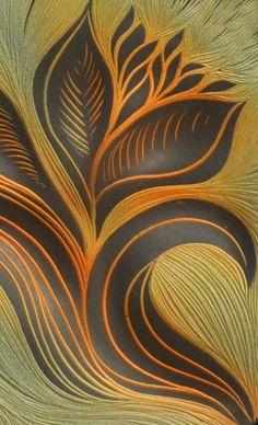 Jade and Cashew glazes on this handmade sgraffito carved tile from Natalie Blake Studios, Brattleboro, VT