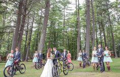 Bridesmaids and groomsmen with mountain bikes | Vintage wedding photography | www.newvintagemedia.ca | Kawartha Lakes Wedding