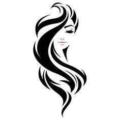 illustration of women long hair style icon, l. illustration of women long hair style icon, logo women face on white background, vector women long hairstyles women long haircut female long arm hair . Art Sketches, Art Drawings, Arte Linear, Salon Art, Beauty Logo, Silhouette Art, Stencil Art, Stencils, Paint Designs