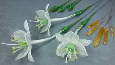Амазонская лилия из бисера. Урок 9 - Сборка дудки / Beaded amazon lily. ...