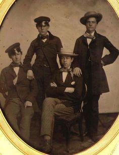1850's Half Plate Ambro - Campy Boston Dandies - Men of High Fashion