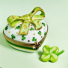 Limoges Irish Heart with Clovers and Bow Box The Cottage Shop