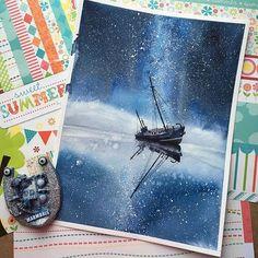 Ship on galaxy water Galaxy Painting, Galaxy Art, Watercolour Painting, Painting & Drawing, Painting Inspiration, Art Inspo, Art Sketches, Art Drawings, Guache