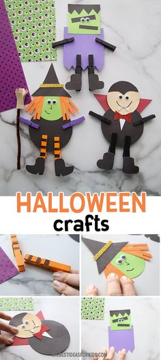 HALLOWEEN CRAFTS - these easy Halloween crafts for kids are so fun to make! Make a witch, vampire, or Frankenstein! Halloween Crafts For Kids To Make, Halloween Activities For Kids, Easy Halloween Crafts, Preschool Halloween, Halloween Witches, Halloween Art, Preschool Activities, Frankenstein, Kids Christmas Outfits