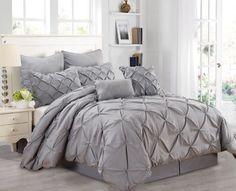 Queen Size Comforter Set 8 Piece Pintuck Pleated Grey Textured Bedding Ensemble #FashionStreet #Modern