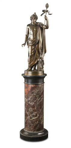 A bronze statue of a Roman classical figure holding a sceptre by Boschetti, 19th century on a marble pedestal impressed BOSCHETTI / ROMA bronze 100cm high, 190cm high including pedestal