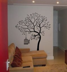 "Big Tree with Bird Cage Wall Decal Deco Art Sticker Mural size: 72""H x 55""W Wall Decals By Digiflare Graphics,http://www.amazon.com/dp/B00CB1HNVA/ref=cm_sw_r_pi_dp_P5CYsb1ZSZYBZACD"