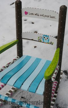 Children's Rocking Chair Rocking Chair Kid's by TheDecorativeBrush