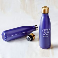 """A collectible S'well<sup>&reg;</sup> purple water bottle with University of Washington """"W"""" logo. Because even Dawgs get thirsty. Swell Water Bottle, Water Bottles, Uw Huskies, University Store, Modern Tech, Travel Cup, University Of Washington, Water Well, Purple Reign"""