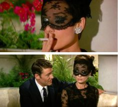 """How to Steal a Million"". that fabulous lace mask designed by Givenchy for Audrey."