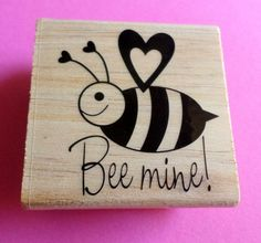 Valentines Bee Mine  Rubber Stamp by NakedRatDestash on Etsy, $3.50