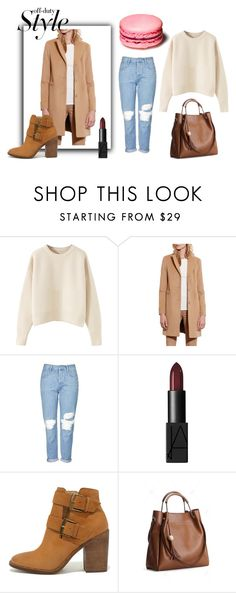 """""""camel coat"""" by mberry91 on Polyvore featuring moda, Lauren Ralph Lauren, Topshop, NARS Cosmetics, Steve Madden, rippedjeans, jumper, totebag, brownbag i camelcoat"""