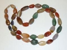 Vintage Polished Agate Necklace Natural Stone by labaublesandbags, $24.00