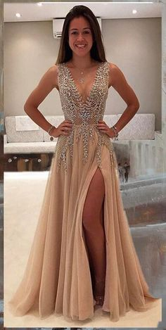 Beaded Prom Dress,Fashion Long Prom Dress,Sexy Party Dress,Custom