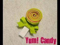 Lollipop / Candy hair clip tutorial from Mommy Crafts A Lot Felt Hair Accessories, Kids Hair Bows, Barrettes, Hairbows, Candy Hair, Hair Bow Tutorial, Diy Headband, Headbands, Ribbon Sculpture