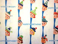 Vintage Wrapping Paper - Woofy Birthday Gift Wrap - Full Sheet. $7.00, via Etsy.
