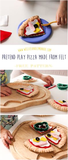Toddler approved pretend play with pizza made from felt. Click through to get your free pattern and follow the step by step instructions or pin now for later. More food felt at http://www.welliesandlemonade.com