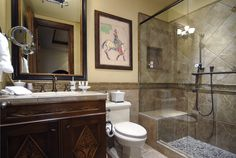 Guest Bathroom.  Aspen Highlands, Thunderbowl Townhome, Luxury Vacation Rental Exclusively offered by Aspen Signature Properties