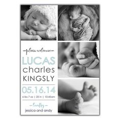 Multiple Photo Announcement. Baby Boy Birth Announcement from brownpaperstudios.com