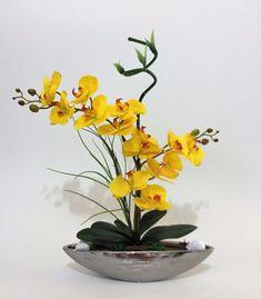 Arranjo De Orquídeas Silicone Artificiais Na Porcelana Prata - R$ 289,00 em Mercado Livre