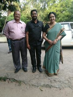 Gopalan with Sam & Nirmala on the sets of Dheiva Magal