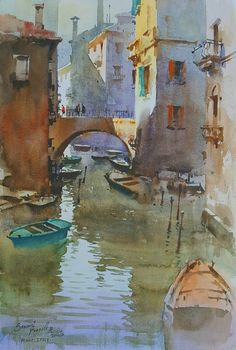 Kai Fine Art is an art website, shows painting and illustration works all over the world. Watercolor City, Watercolor Landscape, Landscape Paintings, Watercolor Paintings, City Painting, Indian Artist, Urban Sketching, Portrait Art, Face Art