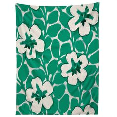 Jacqueline Maldonado Painted Floral Emerald Tapestry | DENY Designs Home Accessories