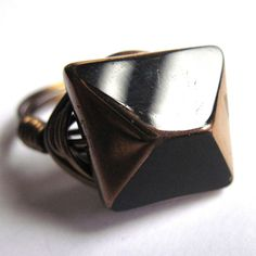 Wire Wrap Ring Black Glass Unisex Fashion by gimmethatthing, £9.75