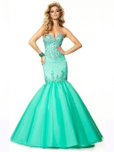 MINT MERMAID SWEETHEART SLEEVELESS BEADED LACE-UP TULLE PROM DRESS WITH SEQUINS