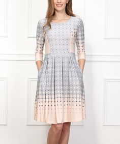 Look what I found on #zulily! Gray & Pink Dots Fit & Flare Dress #zulilyfinds