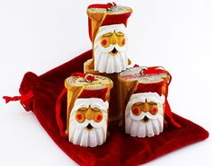 vintage spool thread carved santa | Antique Sewing Thread Spool Carved Santa Ornament, USA Hand Crafted ...