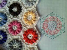 지금 뜨고 있는 헥사곤 모티브 도안입니다 가운데 꽃심을 다른 색상으로 하면 모티브 한개에 색상 3가지가 ...