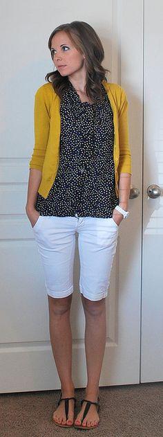 Mustard cardi over black & white printed shirt + white shorts
