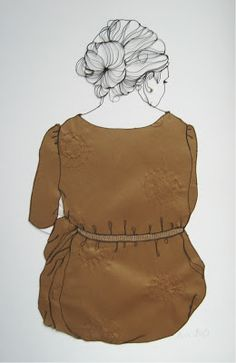 metal wire and embroidery on fabric