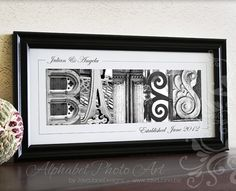 Personalized Name Frame in Black and White by JavaJaneDesigns, $89.00