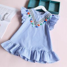 Girls dress girl clothing striped robe fille ruffles kids clothing tassel dress for girl beautiful blue vestidos Frocks For Girls, Kids Frocks, Dresses Kids Girl, Baby Girl Frocks, Toddler Dress, Toddler Outfits, Baby Dress, Kids Outfits, Dress Girl